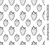 cartoon strawberry pattern with ... | Shutterstock .eps vector #448262836