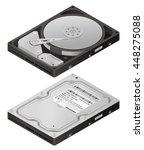 opened hard disk drive  ...   Shutterstock .eps vector #448275088