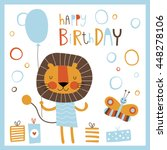 happy birthday card with fun... | Shutterstock .eps vector #448278106
