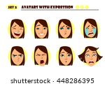 avatars with expression. woman  ... | Shutterstock .eps vector #448286395