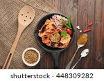 grilled salmon rice and... | Shutterstock . vector #448309282