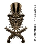 steampunk skull  in hat and ... | Shutterstock . vector #448313986