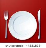 silverware on red. vector. | Shutterstock .eps vector #44831839