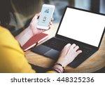 mockup copy space blank screen... | Shutterstock . vector #448325236