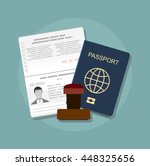 passport with biometric data.... | Shutterstock .eps vector #448325656