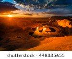 sun's rays shining through...   Shutterstock . vector #448335655