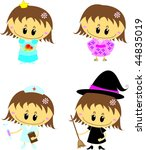 'sweet girl in different role... | Shutterstock .eps vector #44835019