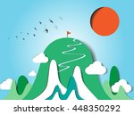 colorful mountain paper cut... | Shutterstock .eps vector #448350292