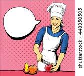 Beautiful Woman Cooking. Vecto...