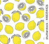 seamless lemons pattern  vector ... | Shutterstock .eps vector #448354426