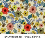 trendy seamless floral pattern... | Shutterstock .eps vector #448355446