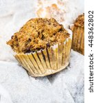 Small photo of Fresh baked bran muffin at local farm market.