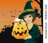 young woman dressed like witch... | Shutterstock .eps vector #448367182