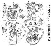 set of summer cocktails line... | Shutterstock .eps vector #448382872