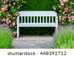 Romantic White Bench In Front...