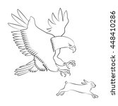eagle chases on the rabbit   Shutterstock .eps vector #448410286