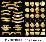 set of gold ribbons and... | Shutterstock .eps vector #448411732