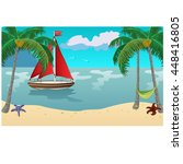 yacht with red sails floats on... | Shutterstock .eps vector #448416805