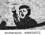graffiti on the wall  angry kid.... | Shutterstock . vector #448424572