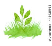vector green watercolor natural ... | Shutterstock .eps vector #448425955