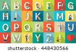 vacation alphabet. flat design. ... | Shutterstock .eps vector #448430566