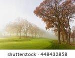 Fog And Sun Rays Over A Golf...