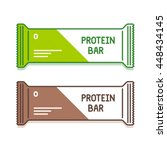 protein bar in green and brown... | Shutterstock .eps vector #448434145