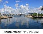sheltered floating dock on... | Shutterstock . vector #448443652