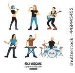 rock musicians cartoon isolated ... | Shutterstock .eps vector #448445452