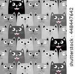 cute cats colorful seamless... | Shutterstock .eps vector #448447642