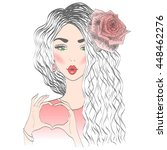 beautiful lovely girl with rose ... | Shutterstock .eps vector #448462276