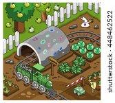 model railroad on a track... | Shutterstock .eps vector #448462522