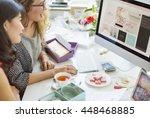 women shopping online... | Shutterstock . vector #448468885