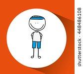 boy playing football under sun... | Shutterstock .eps vector #448486108