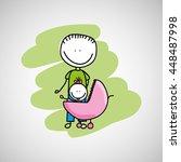 lovely baby in stroller icon... | Shutterstock .eps vector #448487998