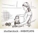 sketch of woman on kitchen with ...