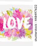 watercolor flowers card with... | Shutterstock . vector #448497622