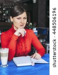 the business lady sits in cafe. ... | Shutterstock . vector #448506196