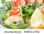 chili prawn dish close up  | Shutterstock . vector #448511782