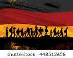 silhouette of refugees walking... | Shutterstock .eps vector #448512658