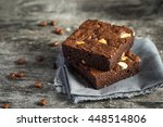 cake chocolate brownies on... | Shutterstock . vector #448514806