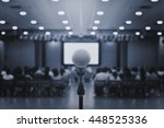 microphone on conference room... | Shutterstock . vector #448525336