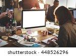 mockup copyspace computer... | Shutterstock . vector #448526296