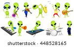 set of green aliens singing and ...