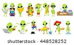 set of green aliens engaged in... | Shutterstock .eps vector #448528252