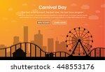 amusement park with a ferris... | Shutterstock .eps vector #448553176