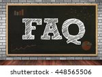 Small photo of FAQ abbreviation ( frequently asked questions ) on brick wall and chalkboard background