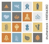 diwali. indian festival icons.... | Shutterstock .eps vector #448566382