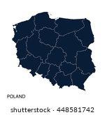 map of poland | Shutterstock .eps vector #448581742