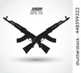 crossed silhouette ak47 assault ... | Shutterstock .eps vector #448599322